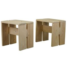"""Pair of Vintage Charlotte Perriand Style """"Les Arcs"""" Stools, Late Century 1 Wooden Pallet Furniture, Deck Furniture, Small Garden Table, Palette Diy, Bois Diy, Diy Kitchen Storage, Wooden Stools, Wood Construction, Diy Woodworking"""
