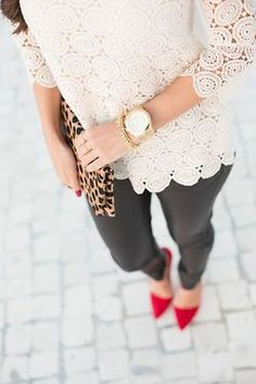 lace & leather {love the leopard clutch}