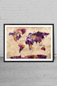 World Map Art Print, World Map Watercolor, Large Wall Art World Map Art, Extra Large Vintage World Map Print Wall Decoration, For gift  -x65 by MyVisualArt on Etsy https://www.etsy.com/listing/262226541/world-map-art-print-world-map-watercolor