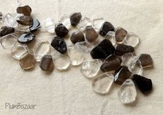 Graduated strand of top drilled clear and smoky quartz by PlumBazaar Quartz Slab, Smoky Quartz, Stone Beads, Drill, All Things, Buy And Sell, Stud Earrings, Top, Handmade