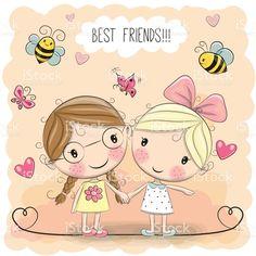 Two Cute cartoon girls vetor e ilustração royalty-free royalty-free