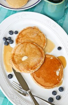 Whole Wheat Pancakes recipe from America's Test Kitchen - could probably use less oil. Breakfast For Dinner, Breakfast Recipes, Breakfast Ideas, Pancake Recipes, Breakfast Healthy, Morning Breakfast, Whole Wheat Pancakes, Americas Test Kitchen, Recipe Of The Day