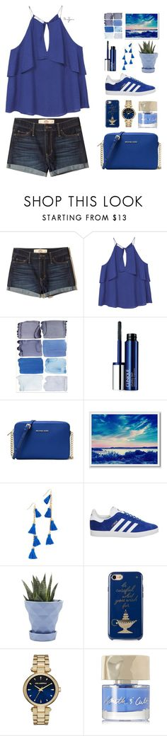 """""""Untitled #520"""" by mandyjeanb87 on Polyvore featuring Hollister Co., MANGO, Clinique, MICHAEL Michael Kors, West Elm, Vanessa Mooney, adidas, Chive, Kate Spade and Karl Lagerfeld"""