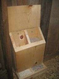 DIY chicken feeder for grit and oyster shells, but id make it bigger and longer so more can eat at once :)