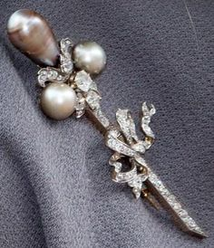 diamond and grey pearls brooch