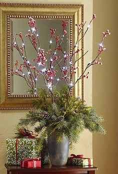 Snow Covered Holiday Berry Lighted Branches Christmas Holiday Decor NEW I6233