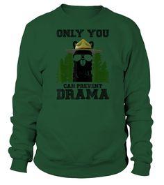 Llama Camping Only You Can Prevent Drama T-Shirt (Sweatshirt Unisex - Green Bottle) #legging #cooking #receipe camping tips, camping gadgets, camping equipment, back to school, aesthetic wallpaper, y2k fashion
