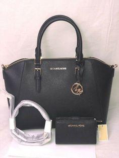 Black Leather Satchel, Pink Leather, Satchel Bag, Michael Kors Hamilton, Large Black, Black Gold, Purses, Wallet, Bags