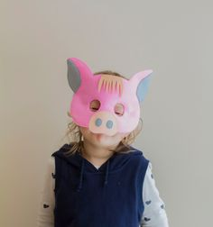 Childs PIG Plush Eye Mask Party Animals Fancy Dress Babe Accessory Book Week