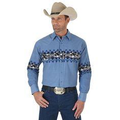 New Wrangler, now at Billy's Western Wear - style - Cowgirl Outfits, Western Outfits, Western Shirts, New Wrangler, Wrangler Shirts, Grunge Outfits, Aztec Shirt, Vintage Western Wear, Moda Masculina