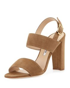 Manolo Blahnik Kahn Suede Double-Band Sandal, Beige, $765 (available from Bergdorf Goodman and Neiman Marcus which both have free shipping and returns)