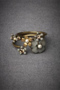Autumnal Stacking Rings ~ Eric et Lydie's adjustable ornamentation ~ Bronze plated brass, gold plated brass, Swarovski crystal, enamel, plastic. Handmade in France / BHLDN