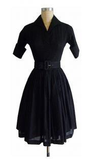 Americana Dress | Black Cotton Voile | Retro Shirtwaist Dress | Trashy Diva