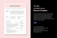 Customer Service Resume Template by Elissa Bernandes on @creativemarket