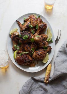 Jerk Chicken (soy sauce, limes, bonnet peppers, onion, garlic, scallions, dark brown sugar, thyme, ginger, salt, cinnamon, allspice)