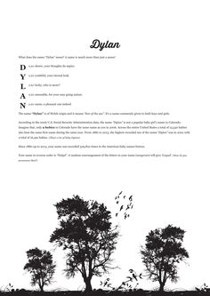 The #namemeaning of #Dylan using Trees Silhouette from the project pack Nature. Unique #giftideas and #personalizedgifts for #babynames