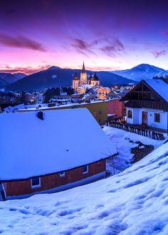 #Mariazell at dusk, Austria