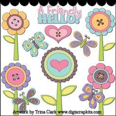 Fun Spring Flowers 1 Clip Art - Original Artwork by Trina Clark