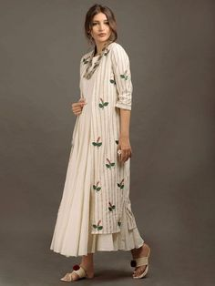 Beautiful chanderi (block printed) jacket with silk inner kurti.