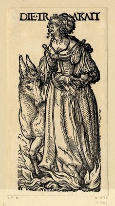 WL female figure standing next to an ass, flames rising at her feet; from a series of seven woodcuts.  c.1510  Woodcut