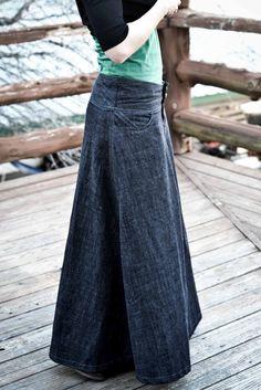 Eager Hands:  ~ Dark Denim Wide Waistband Skirt