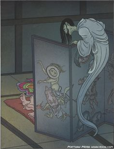 "In Japanese Folklore, ""Byōbu nozoki"" is a ghost which peeps at people from behind a Byōbu (folding screen) particularly if people are engaged in romantic activities (Illustration Matthew Meyer) Japanese Mythology, Japanese Folklore, Japanese Urban Legends, Japanese Yokai, Japanese Horror, Mythological Creatures, Oriental, Japanese Prints, Japan Art"