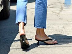 Heeled Flip-Flops Are the Sexy Summer Sandal You Thought You'd Never See Again: But when the minimal silhouette is combined with a sleek heel, they are elevated into what's about to be summer's next big shoe trend. Heeled Flip Flops, Platform Flip Flops, Flip Flop Shoes, Shoes Too Big, Kendall Jenner Style, Beach Flip Flops, Beach Shoes, Summer Shoes, Sandals