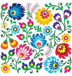 Hungarian Embroidery Patterns Floral polnischen Kunst Muster im Quadrat Lizenzfreies vektor illustration - Traditional colorful background - Slavic cutout style folk art pattern Hungarian Embroidery, Folk Embroidery, Learn Embroidery, Embroidery Patterns, Polish Embroidery, Pattern Floral, Motif Floral, Pattern Art, Art Patterns