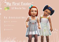 """""""My first Easter"""" dress for toddlers the sims 4 maxis match Sims 4 Toddler Clothes, Toddler Outfits, Toddler Hair Bows, Toddler Stuff, Babies Stuff, Toddler Girls, Baby Girls, Sims Four, Sims 4 Mm Cc"""
