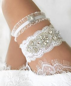 THIS GARTER SET IS IN WHITE LACE [QUALITY HANDMADE GARTERS] Not all garters are made the same! Garters with rhinestones and crystals can be a little heavy. Other shops only use ONE LAYER of thin lace for their keepsake garters that may not stay in place. I wanted to make sure my