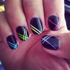 Neon stripes #Nails