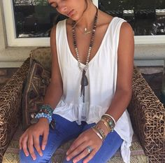 #tanktop #creme #jewelry #gypsy #boho #springcollection #poeticnuance #tan #bracelet #necklace #ring #beads #hippie #clothes