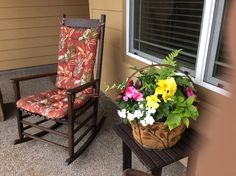 """""""Love these chair pads. Have always had stripped pads on these chairs (from other companies) this time I selected the Manila chair pads from Barnett Home Decor, and I'm glad I did. I Love the color and sun resistance rating, and they are comfortable and look great!"""" A review by Sharon S on our Manilla Indoor/Outdoor Rocking Chair Cushions"""