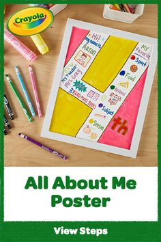 Tell classmates and friends all about you! Learn how to make an All About Me Poster with the bold color and full coverage of Crayola Project supplies. Fun Crafts For Kids, Projects For Kids, Art Projects, Arts And Crafts, Diy Crafts, All About Me Poster, Crayola, Step By Step Instructions, My Children