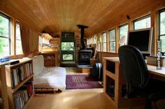 old school bus turned into a tiny moving home!