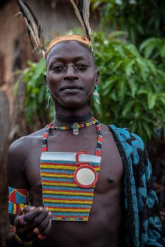 Portrait of a Benna man. Omo Valley, Ethiopia