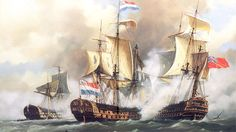 The Delft in action against the the British. The Delft was a Dutch fourth rate ship of the line of the navy of the Dutch Republic. A replica is being build in Rotterdam. Anglo Dutch Wars, Legend Of The Seas, Navy Coast Guard, Dutch Republic, Vintage Paintings, Ship Of The Line, Flying Dutchman, Fantasy Battle, Nautical Art