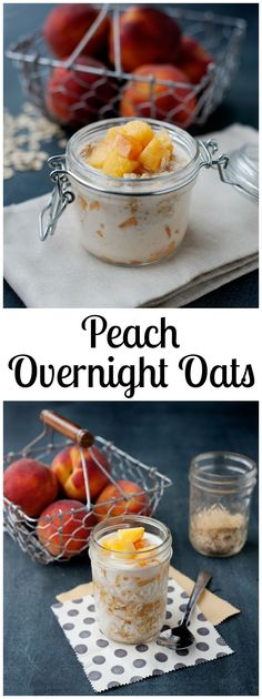 This Peaches and Cream Overnight Oats recipe is easy to make, delicious, and uses real ingredients! You're gonna look forward to waking up in the morning! Overnight Oats In A Jar, Healthy Overnight Oats, Overnight Breakfast, Mason Jar Meals, Healthy Breakfast Recipes, Healthy Breakfasts, Healthy Foods, Oatmeal Recipes, Easy Food To Make