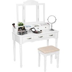 SONGMICS 7 Drawers Vanity Table Set with Tri-folding Mirror 6... ($270) ❤ liked on Polyvore featuring home, furniture, tables, white tables, white furniture, white vanity table, white dressing table and white vanity chair