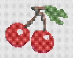 Cherry / Cherries Cross Stitch Pattern  Printable by ThatsSewEllie on Etsy!