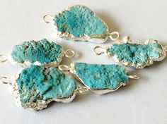 Raw Turquoise Connectors Turquoise Silver by gemsforjewels on Etsy