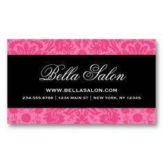 Hot Pink Black Elegant Vintage Damask Business Card