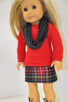 American Girl Doll Clothes Red Sweater and Black by CircleCSewing, $17.00