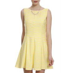 Vestido Listras Evasê Amarelo