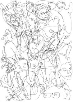 many faces, interweaving lives of many people throughout the day Mehr Art Inspo, Inspiration Art, Art Bizarre, Art Sketches, Art Drawings, Scribble Art, Art Et Illustration, Art Graphique, Line Drawing