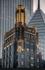 I've always loved the (not so) modestly gilded, art deco facade of Chicago's Union Carbide and Carbon building. It's brazen and refined at the same time. Today, I understand it's a Hard Rock Hotel - bit strange, but not entirely inappropriate. 230 N. Michigan.