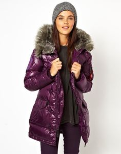 2013 $490 Alpha Industries Padded Parka With Faux Fur Trim