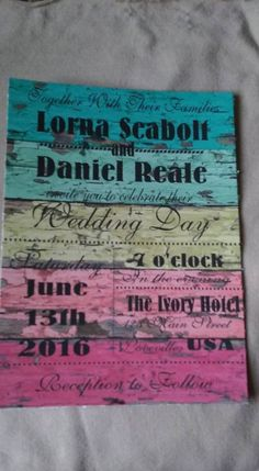 50 Wedding Invitations Rustic Wood Rainbow Subway art