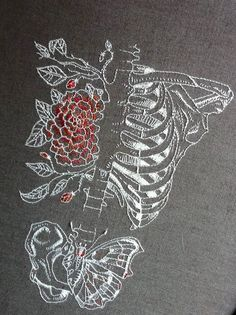 Not sure what this means but the combination of embroidery and the skeleton is fascinating. From alapoursuiteduvent