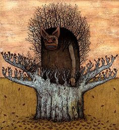 Andy Kehoe ~ Bad Times Infect Our #Tree of Memories  2006  Acrylic and Ink on Wood